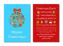 Den drog vektorhanden färgade mallen för inbjudan för julpartiet Royaltyfri Fotografi