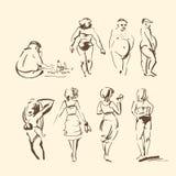 Den drog vektorhanden skissar av folk på strandillustration på vit bakgrund vektor illustrationer