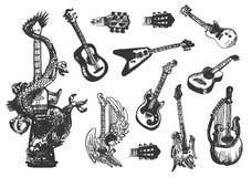 Den drog vektorhanden skissar av gitarrillustration på vit bakgrund royaltyfri illustrationer