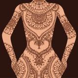 Den drog vektorhanden skissar av hennamodellillustration på människokroppen vektor illustrationer