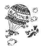 Den drog vektorhanden skissar av illustration för luftballong på vit bakgrund royaltyfri illustrationer