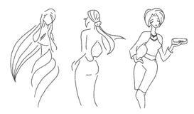 Den drog vektorhanden skissar av kvinnamodeillustration på vit bakgrund royaltyfri illustrationer