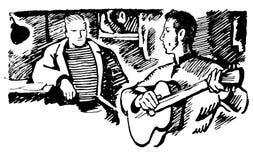 Den drog vektorhanden skissar av man med gitarrillustrationen på vit bakgrund vektor illustrationer