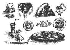 Den drog vektorhanden skissar av pizzaillustration på vit bakgrund royaltyfri illustrationer