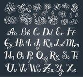 Den drog vektorhanden skissar av prepositionord i illustration för tappningstilsortsstil på vit bakgrund royaltyfri illustrationer