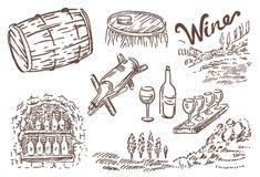 Den drog vektorhanden skissar av vinflaskan med exponeringsglas- och druvaillustrationen på vit bakgrund stock illustrationer