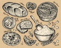 Den drog vektorhanden skissar bagerit, bröd vektor illustrationer
