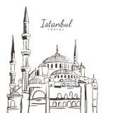 Den drog vektorhanden skissar illustrationen av den blåa moskén, Sultanahmet Camii Royaltyfria Foton