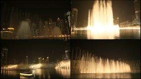 Den Dubai springbrunnen i natten lager videofilmer