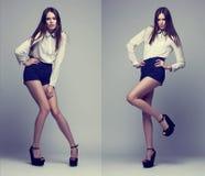 Den dubbla bilden av den samma modemodellen i olikt poserar Arkivfoton