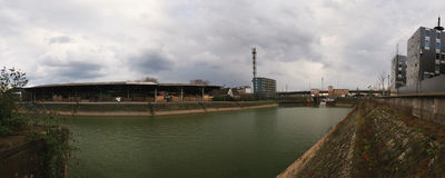 den duisburg hamnen innenhafen Royaltyfri Fotografi