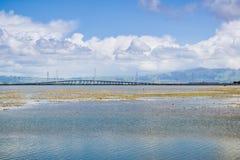 Den Dumbarton bron som sedd från Bedwell Bayfront parkerar, Menlo Park, San Francisco Bay område, Kalifornien arkivbilder