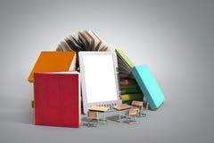 Den EBook avläsaren Books och minnestavlan 3d framför bild på grå lutning Arkivbilder