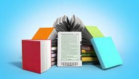Den EBook avläsaren Books och minnestavlan 3d framför bild på lutning Royaltyfri Fotografi