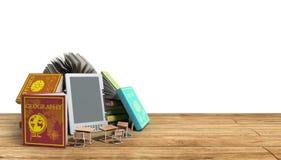 Den EBook avläsaren Books och minnestavlan på vit bakgrund 3d framför Suc Arkivfoton