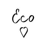Den Eco världen med hjärta - räcka utdragen borstetext Handgjord bokstäver royaltyfri illustrationer
