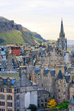 Edinburgh gatapanorama Arkivbilder