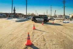 Den Edmonton polisen på platsen för vägolycka Royaltyfria Foton