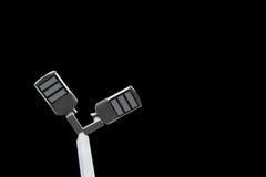 Den Eectricity stolpen LEDDE den ljusa kulan för sol- energi eller glödande Arkivbild