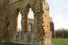 Den Egglestone abbotskloster är en övergiven Premonstratensian abbotskloster på den sydliga banken av flodutslagsplatserna Arkivbilder