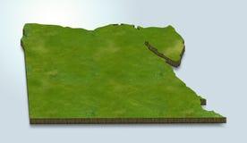 Den Egypten översikten är grön på en blå bakgrund 3d stock illustrationer