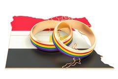 Den Egypten översikten med LGBT-regnbågen ringer, tolkningen 3D vektor illustrationer