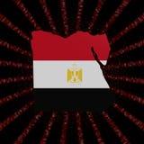 Den Egypten översiktsflaggan på rött förhäxer kodbristningsillustrationen royaltyfri illustrationer