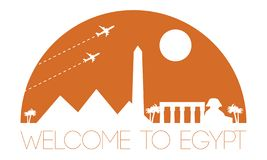 Den Egypten färgar den bästa berömda gränsmärkekonturn och kupolen med rosa färger st royaltyfri illustrationer