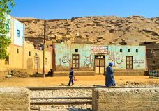 Den egyptiska byn Royaltyfri Fotografi