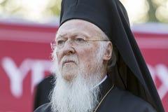 Den ekumeniska patriarken Bartholomew besöker Serres på kyrkan av Arkivbilder