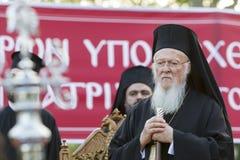Den ekumeniska patriarken Bartholomew besöker Serres på kyrkan av Royaltyfria Foton