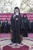Den ekumeniska patriarken Bartholomew besöker Serres på kyrkan av Arkivbild