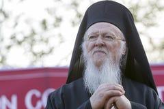 Den ekumeniska patriarken Bartholomew besöker Serres på kyrkan av Royaltyfria Bilder