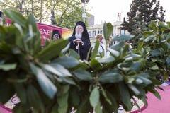 Den ekumeniska patriarken Bartholomew besöker Serres på kyrkan av Royaltyfri Foto
