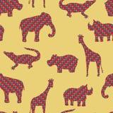 Den elefant-, alligator-, giraff-, noshörning- och flodhästvektorn Sömlös modellbakgrund Royaltyfri Bild