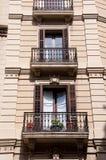 Den eleganta balkongen i Barcelona. Arkivbilder