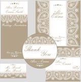 Den eleganta bröllopdesignmallen av snör åt Arkivbilder