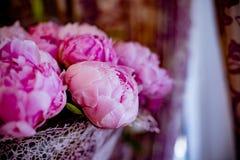 Den eleganta buketten av många pioner av rosa färger färgar tätt upp Härlig blomma för någon ferie Massor av nätt och royaltyfria bilder