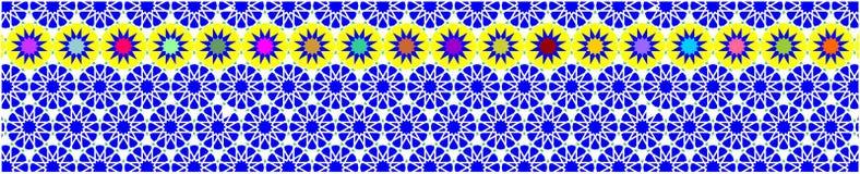 Den eleganta dekorativa gränsen som utgöras av polygoner, och stjärnor med blå bakgrund färgar Arkivfoton