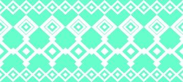 Den eleganta dekorativa gränsen utgjorde av fyrkantig turkos och vit Royaltyfri Fotografi