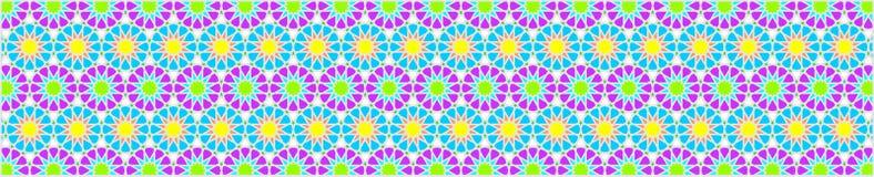 Den eleganta dekorativa gränsen utgjorde av polygoner och stjärnor med ljusa färger Royaltyfria Bilder