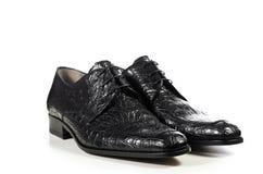 Den eleganta klassikern parar av manlig skor i krokodil Royaltyfri Fotografi