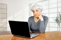 Den eleganta äldre höga kvinnan som använder bärbar datordatoren, meddelar Arkivfoton