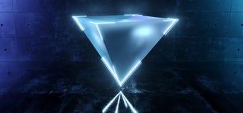 Den eleganta pyramiden Sci Fi moderna sväva för frostat exponeringsglas med lett glödande neon kantar blå färg i mörk konkret gla royaltyfri illustrationer