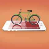 Den eleganta tappningcykeln på pekskärm av smartphonen med vägen, digitala konditionsportar cyklar den uthyrnings- app-metaforen  Arkivbild