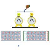 In den elektrischen Stromkreisen wird diese Gebühr getragen, indem man Elektronen in einem Draht bewegt Lizenzfreie Stockbilder
