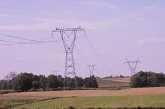 Den elektriska överföringen står högt elektricitetspyloner på solnedgången royaltyfri foto