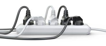 Den elektriska förlängningsremsan med den förbindelseframdelen för maktproppar Royaltyfria Foton