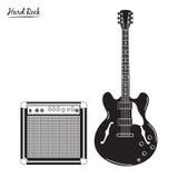 Den elektriska gitarren och combo ampere som är hårda vaggar Royaltyfri Fotografi