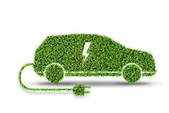 Den elektriska gröna bilen som isoleras på den vita tolkningen för bakgrund 3d stock illustrationer